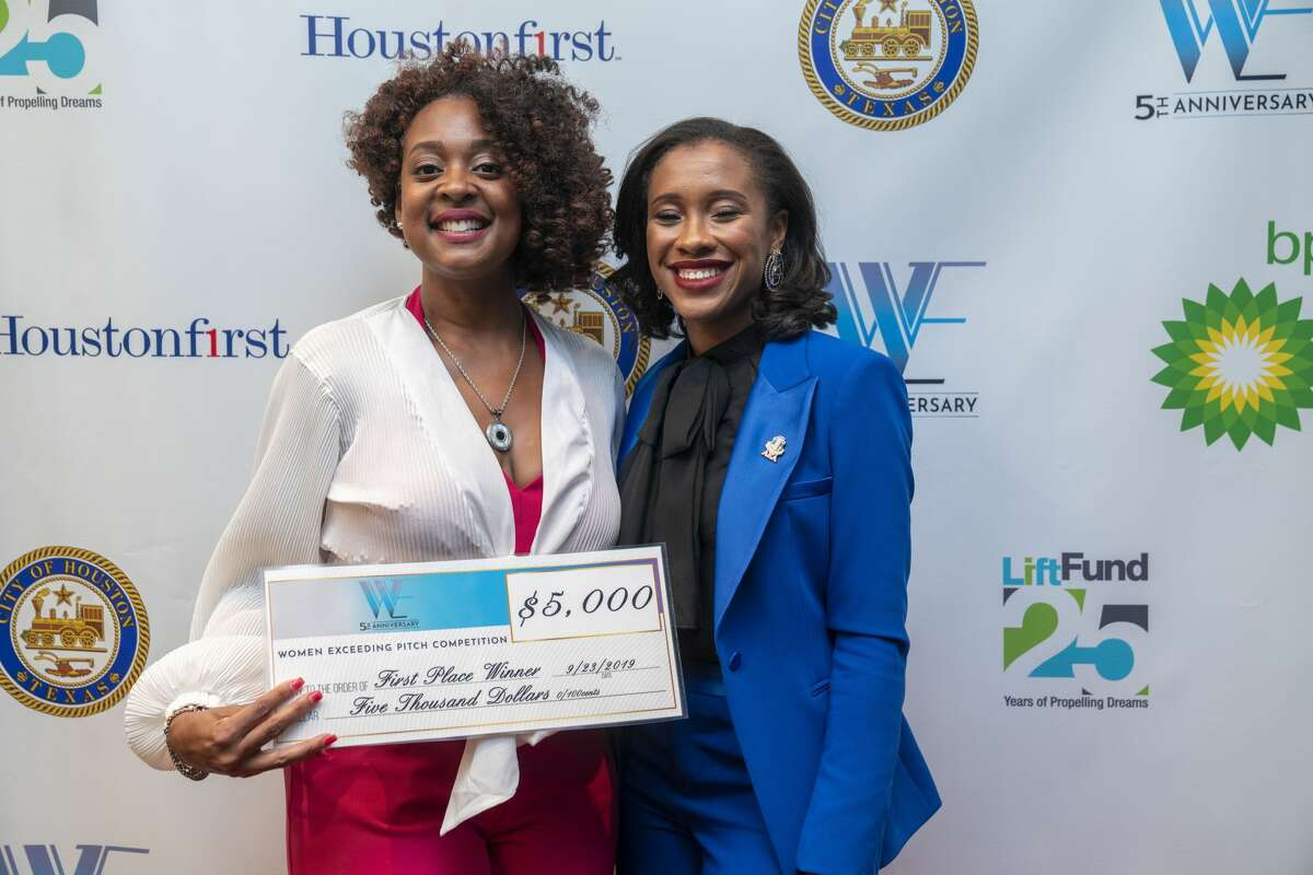 Pictured at Women Exceeding's first business pitch competition is the first-place winner Kimba Williams of Kushae, left, and the Women Exceeding founder Christina Cornelius.