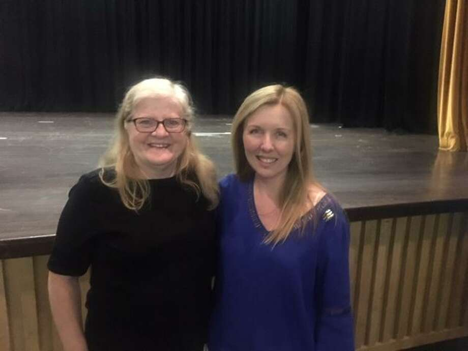 Barlow Mountain Elementary School first grader teacher Suzanne Meyer was named Ridgefield Public Schools' Teacher of the Year for 2020. Meyer celebrated with Regina Zafrin, left, the district's outgoing Teacher of the Year. Photo: Contributed Photo