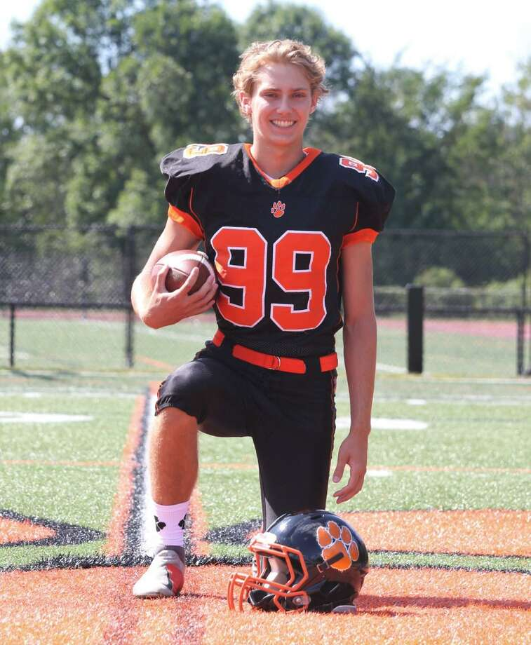 Adam Biernat, a first-year senior on the RHS football team, kicked the game-winning field goal in the final seconds last Friday night as the Tigers upset New Canaan. Photo: Contributed Photo / RHS Football