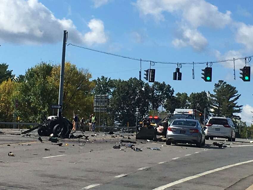 Authorities are on the scene of a three-car crash on Ushers Road near Northway exit 10 in Clifton Park that sent five people with injuries to Albany Medical Center, according to Saratoga County Sheriff Michael Zurlo.