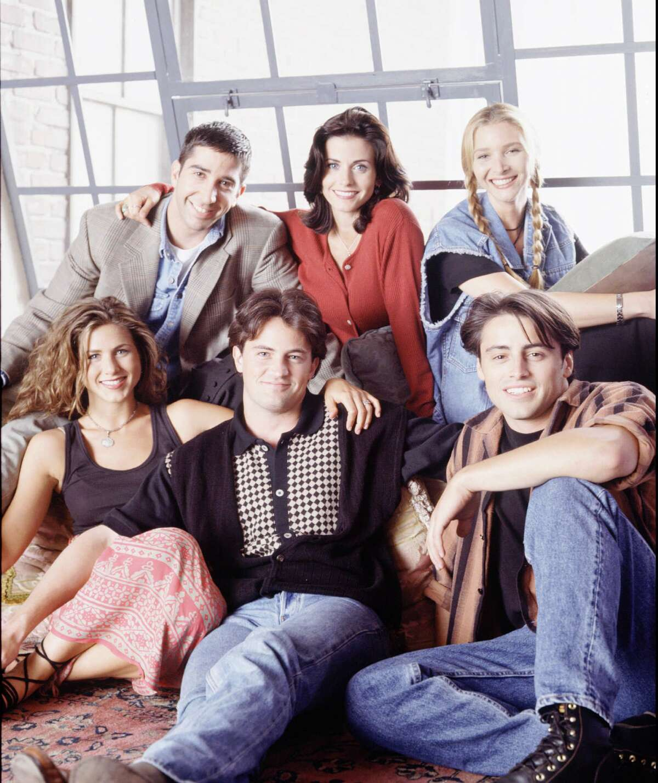 (Clockwise from top left) David Schwimmer, Courteney Cox, Lisa Kudrow, Matt LeBlanc, Matthew Perry, Jennifer Aniston in 'Friends' in 1994.