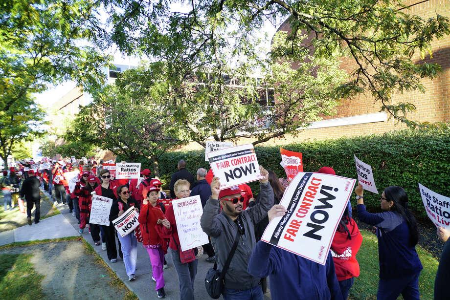 Photos: Albany Med nurses picket outside hospital - Times Union