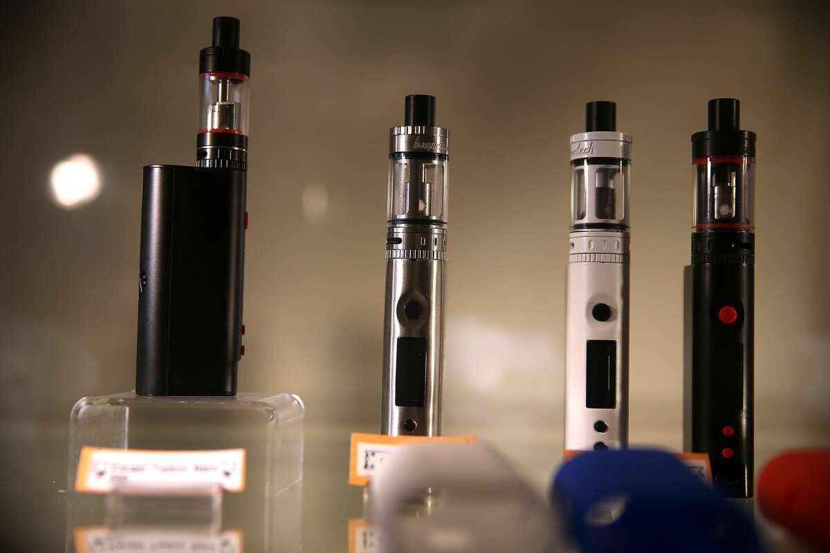 FILE: E-cigarettes are displayed at Gone With the Smoke Vapor Lounge on May 5, 2016 in San Francisco.
