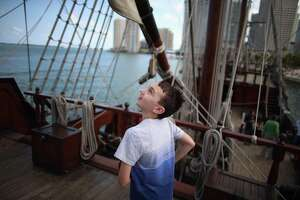 In 2013, a boy explores a replica of a 16th-century galleon as Florida marks the 500th anniversary of Spanish explorer Juan Ponce de Leon's arriva there. The English didn't show up in Jamestown, Va., until 1607.