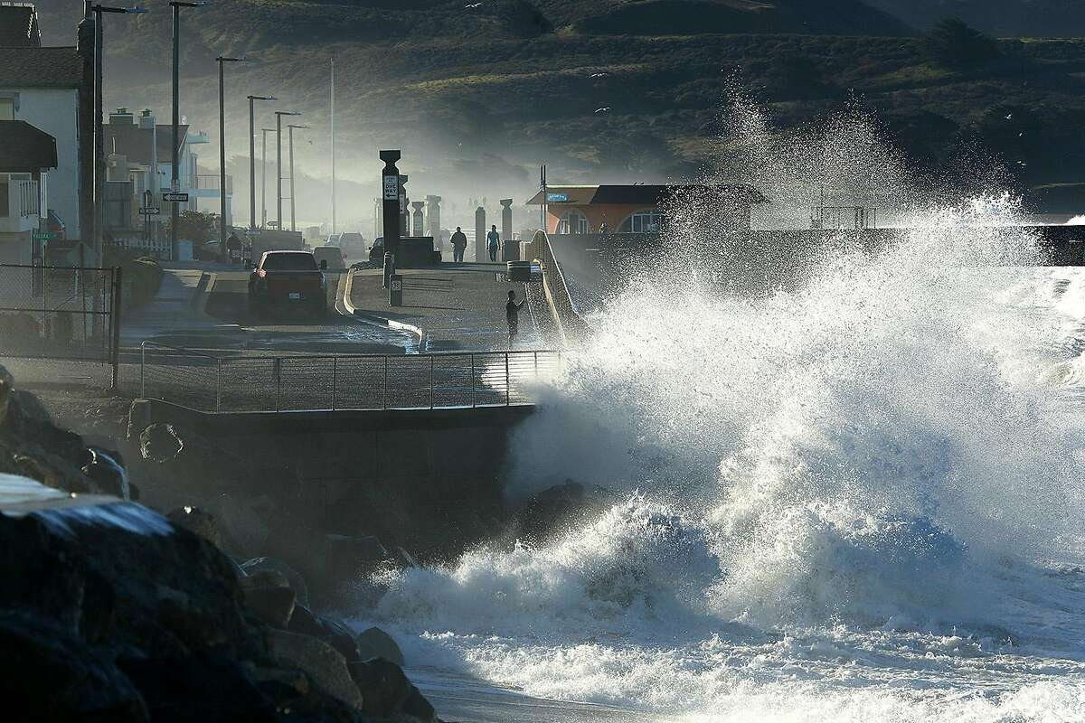 FILE - High waves in Pacifica on Jan. 20, 2019.