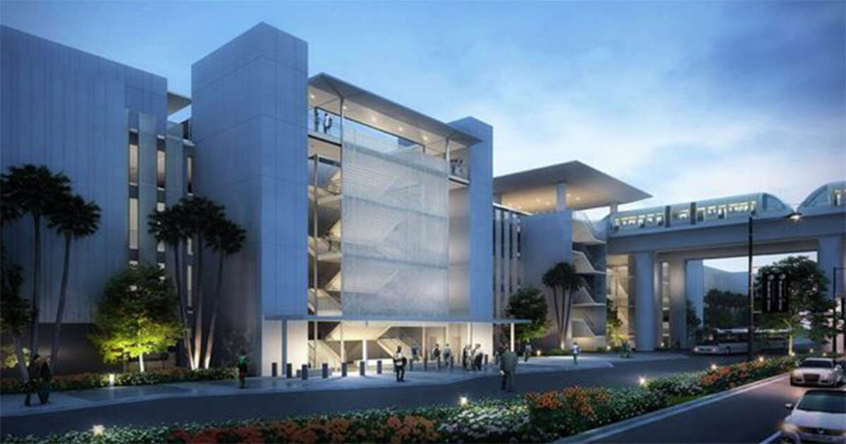 LAX broke ground this month on construction of its new consolidated car rental center, which will be linked to terminals by a new people-mover system (right), also under construction.