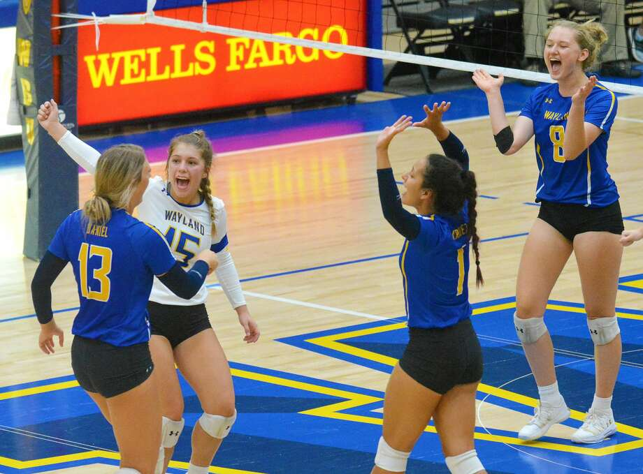 Wayland Baptist volleyball players, from left, Amber Daniel, Tevia Bell, Ariel Marquez and Tatijana Markic will hope to lead the Pioneers to the top of the Sooner Athletic Conference standings now that their team is mostly healthy, but they must act fast. Photo: Nathan Giese/Planview Herald