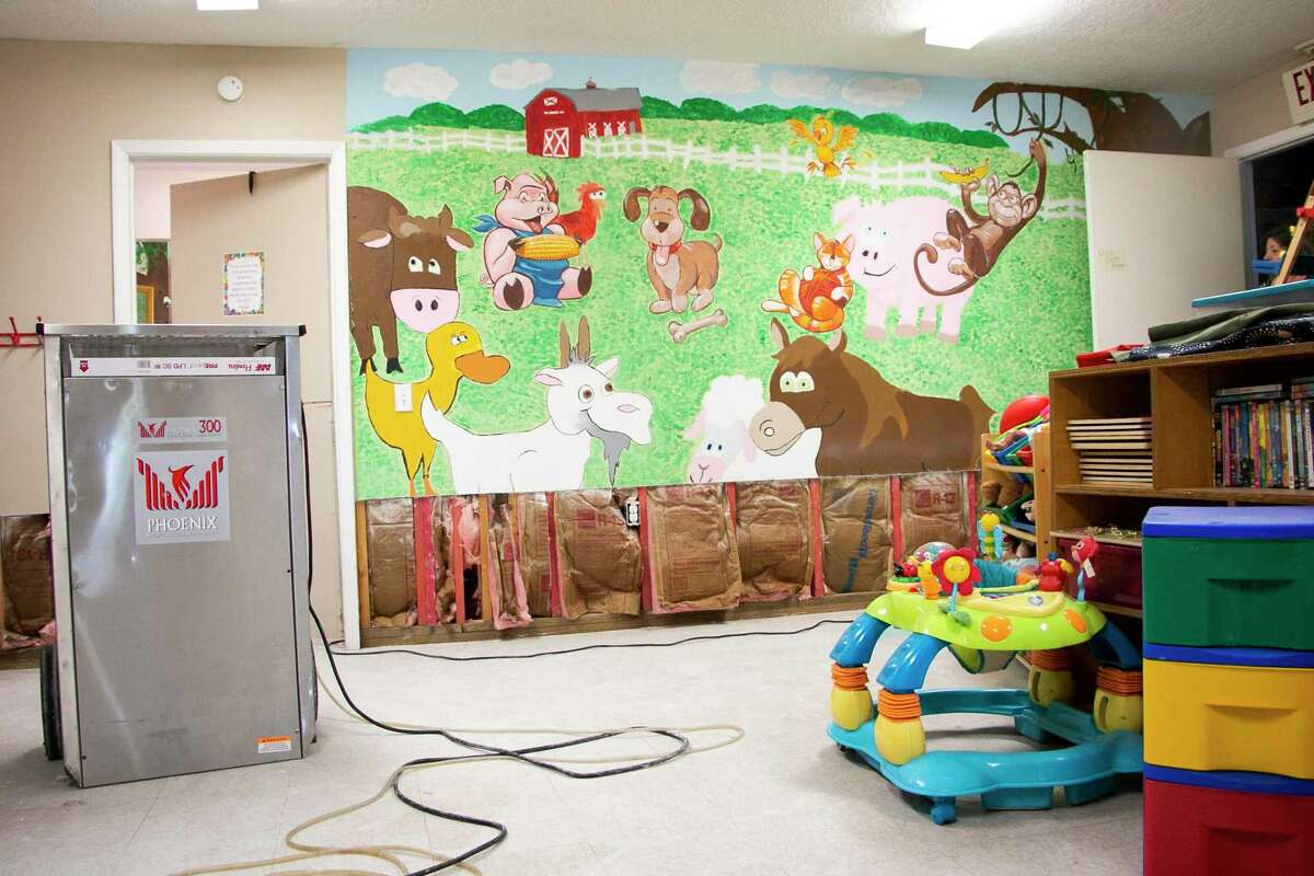 Family Time, the Humble area crisis and counseling center for domestic violence victims, had about three inches of flooding in their shelter on Thursday from Tropical Storm Imelda. A portion of the mural in the children's playroom had to be cut out due to water damage.
