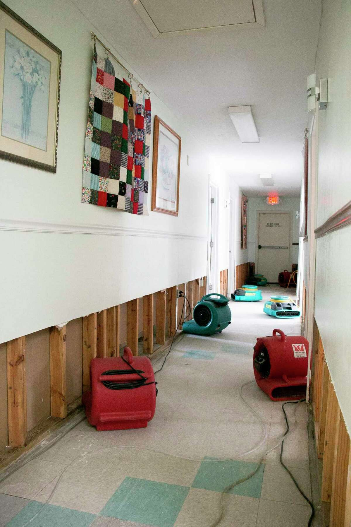 Family Time, the Humble area crisis and counseling center for domestic violence victims, had about three inches of flooding in their shelter on Thursday from Tropical Storm Imelda.