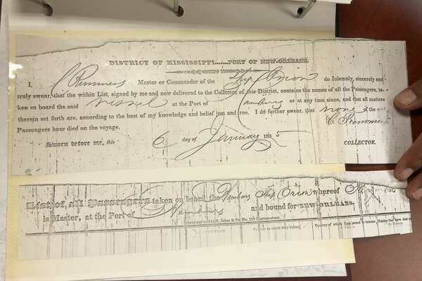 Shown is a copy of a passenger arrival document that was in the photo album. Passenger records show an Andine Jandt arrived in the United States from Germany in 1835.