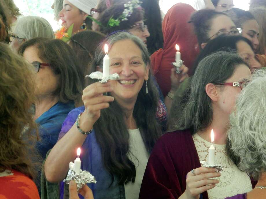 Former Wilton resident Batya Minsky Diamond celebrates at her initiation ceremony as a Hebrew priestess in Falls Village on Aug. 9. Photo: Barbara Minsky Contributed Photo / / Wilton Bulletin Contributed