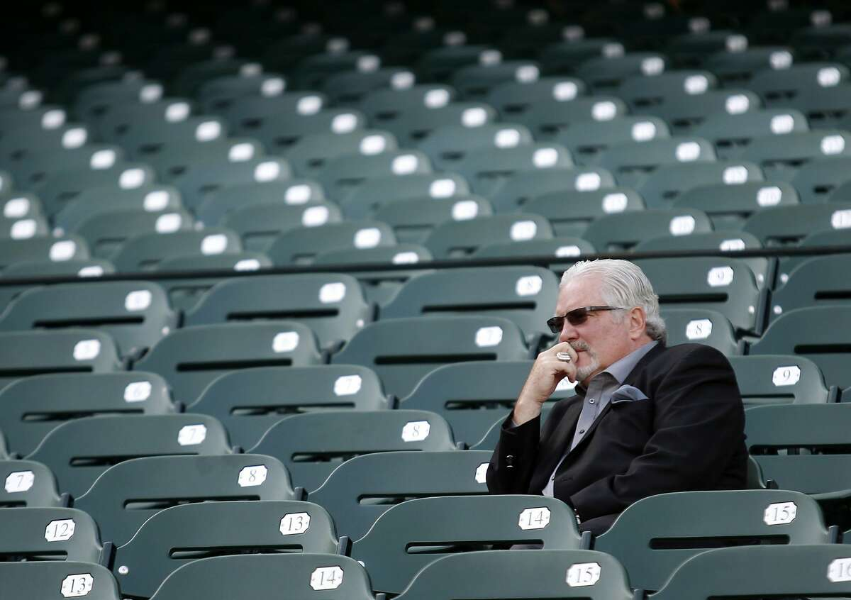 San Francisco Giants' Brian Sabean watches batting practice before the game against the Oakland Athletics on Friday, April 3, 2015 in San Francisco, Calif.