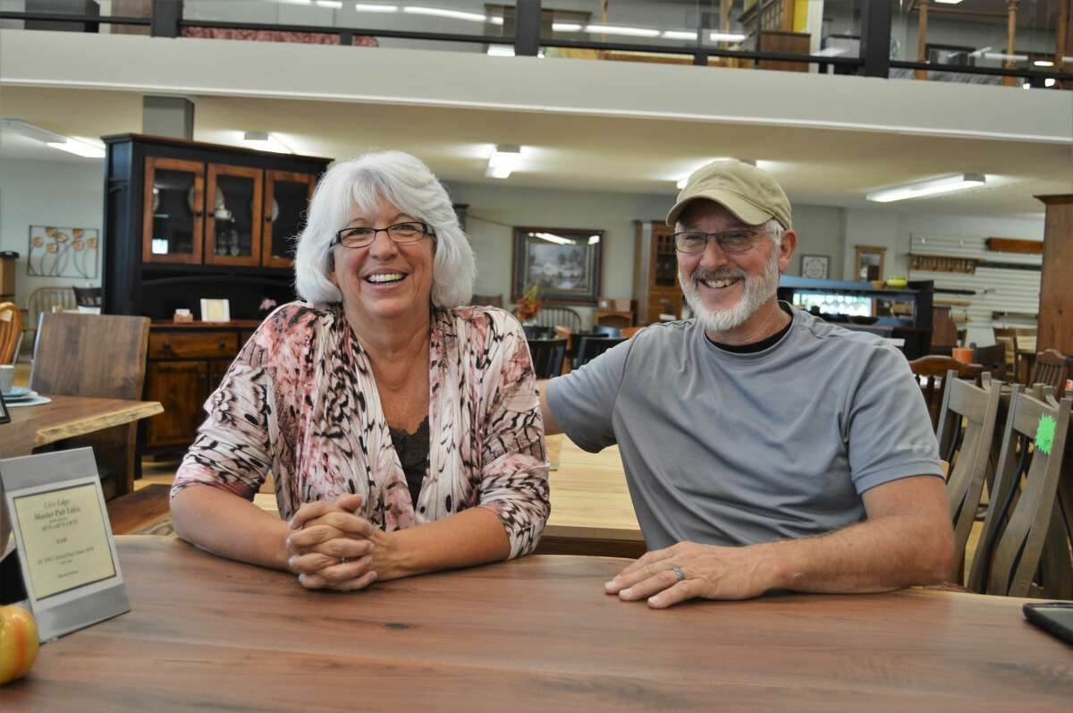 Lanis and George Swaney opened Amish Reflections, a furniture store stocked with authentic, Amish-made pieces, 25 years ago in Midland. (Ashley Schafer/Ashley.Schafer@hearstnp.com)