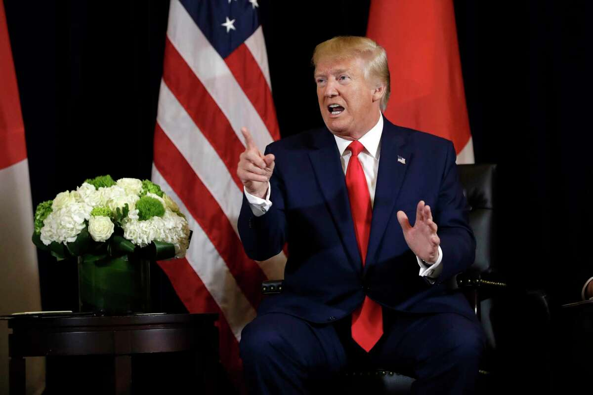 President Donald Trump talks while meeting with Japanese Prime Minister Shinzo Abe at the InterContinental Barclay New York hotel during the United Nations General Assembly, Wednesday, Sept. 25, 2019, in New York. (AP Photo/Evan Vucci)