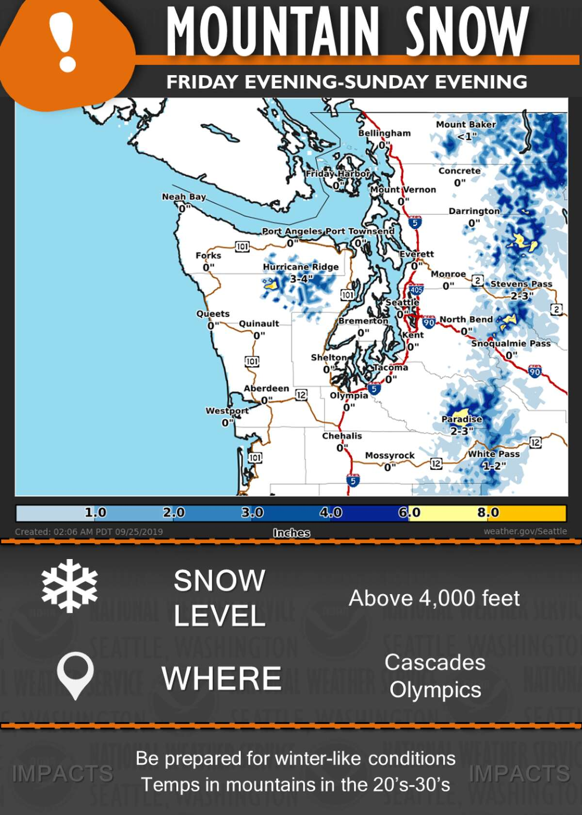 Snow levels will lower to 4,000-5,000 feet by Friday with cooler air across the Pacific Northwest. Generally 2-8 inches across the higher elevations above 4,000 feet will fall through the weekend.