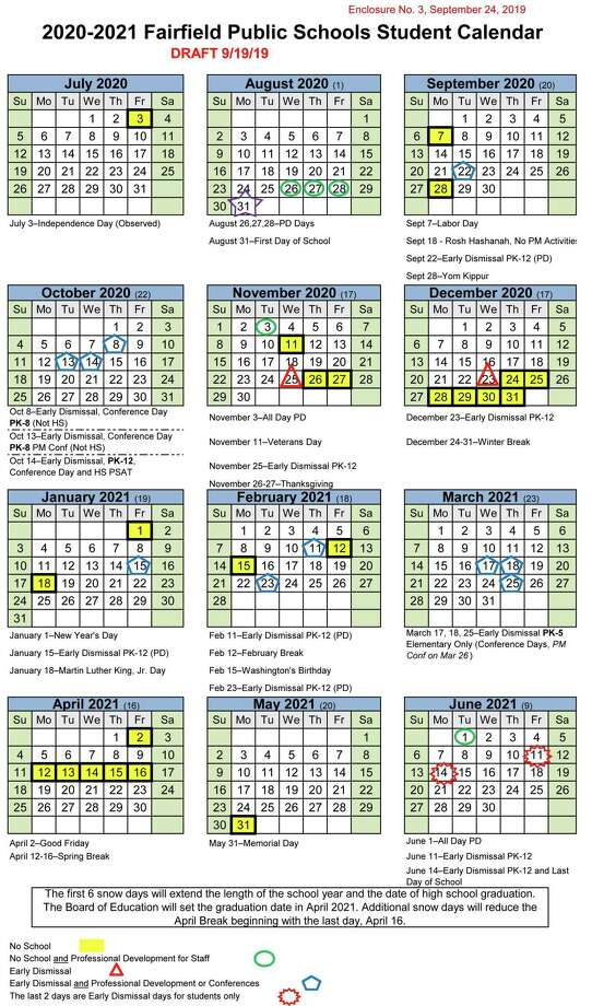 The first draft of the Fairfield Public Schools 2020-2021 calendar. Photo: Contributed Image