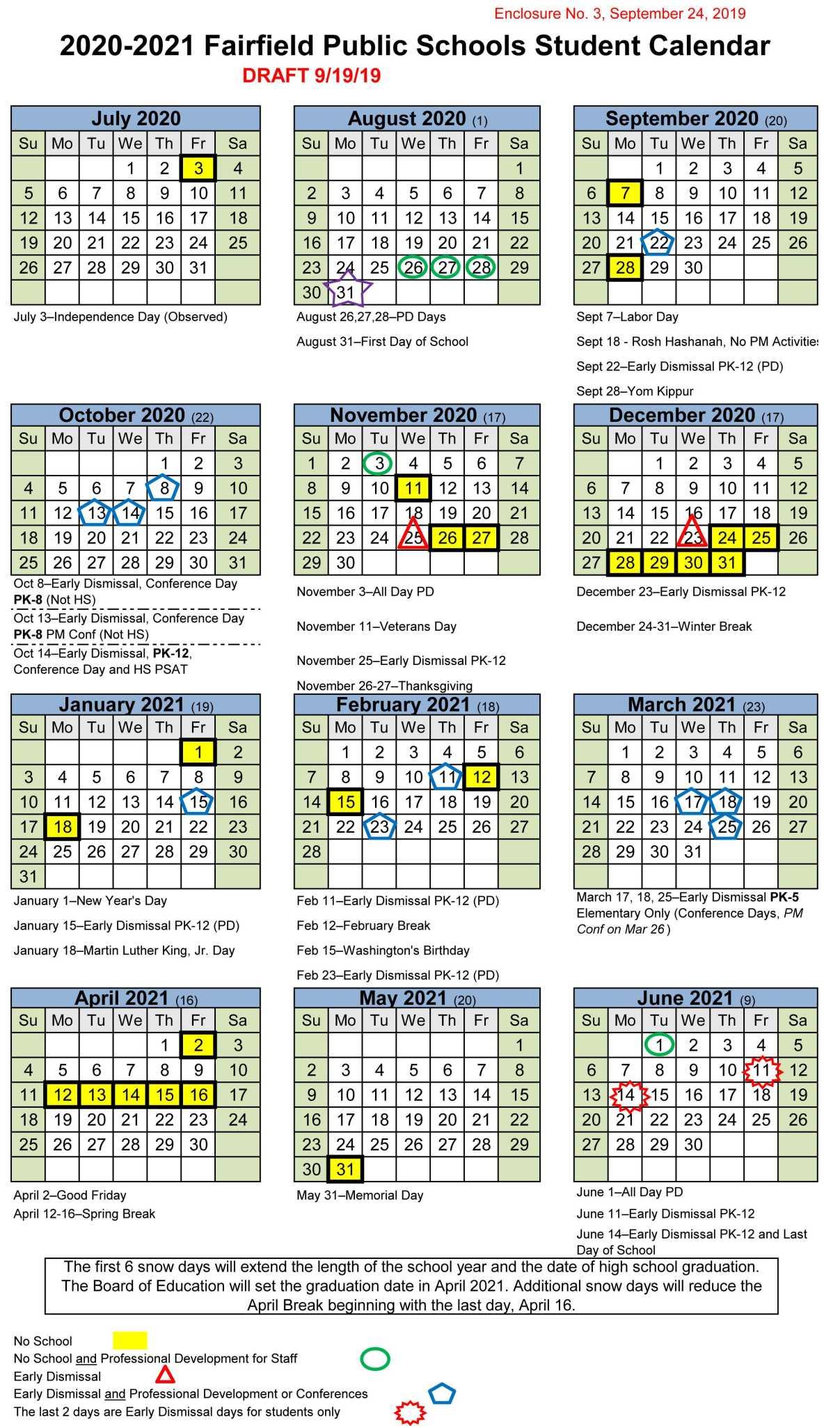 Calendar: Fairfield school board mulls development days, February