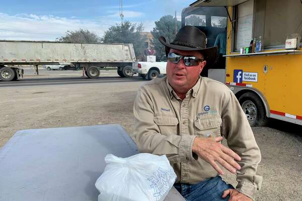 "RichardÊ Stott, 52, originally from Liberty, Miss., hauls crude in a tank truck in Loving County, and sleeps in his truck. Like everyone, he complaint s about the ""idiot drivers"" he encounters on the oilfield roads.Ê"