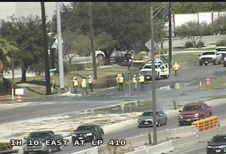 SAWS responded to a water main break that erupted near a major highway on the city's East Side Wednesday afternoon, according to a representative from SAWS. Photo: TxDOT