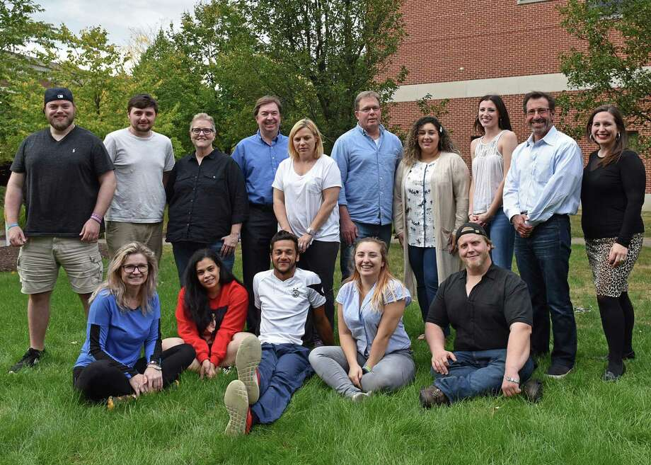 Students who enrolled this fall as members of the first cohort in Western Connecticut State University's new M.S. in Addiction Studies program are pictured with members of the faculty on the university's Midtown campus in Danbury. Pictured in the front row, left to right, are: Malgorzata Karas-Golka, of Newington; Tatiana Castillo, of Danbury; Chauncey Allers, of Wilton; Taylor McCafferty, of Danbury; and Bret Miller, of Torrington. Pictured in the rear row, left to right, are: Joseph Tamberelli, of Sherman; Chris Zahor, of Monroe; Anne Corey, of Southbury; Professor of Psychology Dr. Shane Murphy; Mary Espinosa, of Enfield; Howie Senior, of New Milford; Yvette Vargas, of Danbury; Taylor Cassidy, of Brookfield; Jeffrey Chervenak, of Bloomfield; and Assistant Professor of Psychology Dr. Lindsay Oberleitner. Not pictured: Carole Allers, of Wilton. Photo: Contributed Photo / Contributed / The News-Times Contributed
