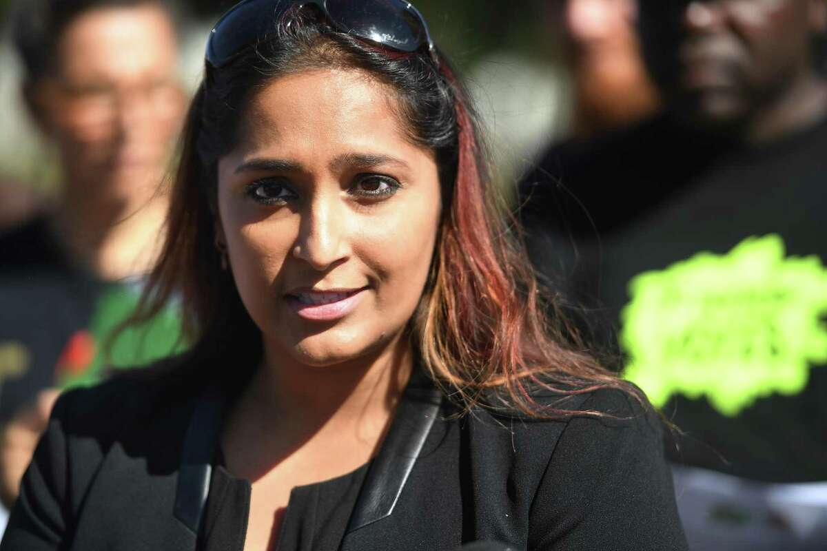 Attorney Prerna Rao announces a lawsuit on behalf of plaintiffs Bridgeport Generation Now and PT Partners claiming voter fraud in absentee ballot voting in the Democratic mayoral primary during a press conference at West Side Park in Bridgeport, Conn. on Wednesday, September 25, 2019.