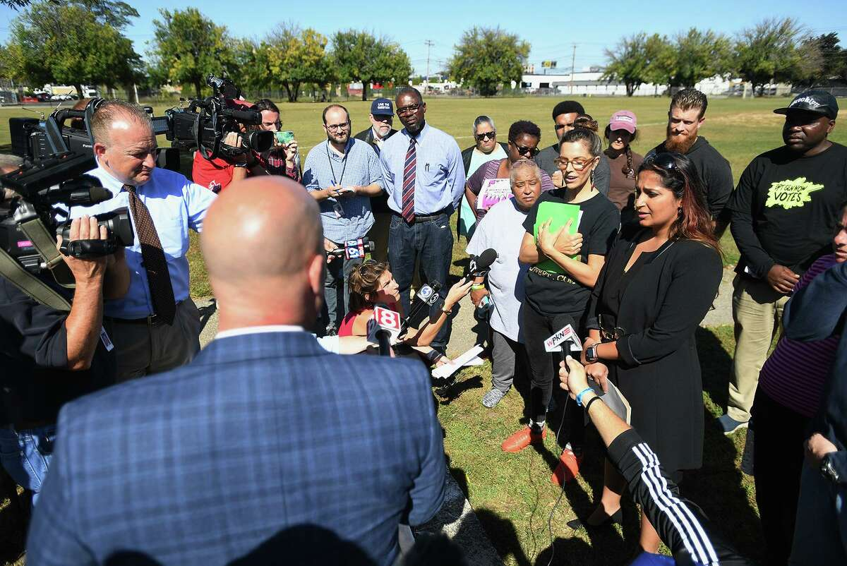 Co-director of Bridgeport Generation Now Votes Callie Gale Heilmann and Attorney Prerna Rao field questions following the announcement of a lawsuit claiming voter fraud in absentee ballot voting in the Democratic mayoral primary during a press conference at West Side Park in Bridgeport, Conn. on Wednesday, September 25, 2019.