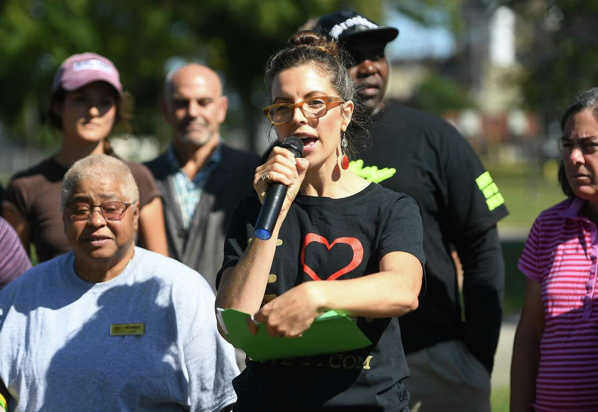 Callie Gale Heilmann, co-director of Bridgeport Generation Now Votes, addresses a lawsuit claiming voter fraud in absentee ballot voting in the Democratic mayoral primary during a press conference at West Side Park in Bridgeport, Conn. on Wednesday, September 25, 2019.