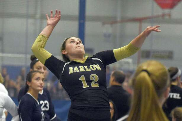 Barlow's Kayleigh Emanuelson (12) goes up for a shot during the CIAC's Early Season Block Party Volleyball Tournament at the CT Sports Center in Woodbridge on Saturday, Sept. 14, 2019.