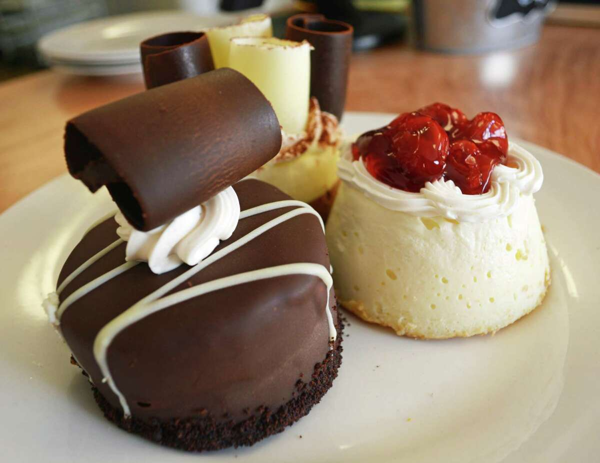 Individual chocolate mousse delights and mini cheesecakes are just some of the fancy desserts offered at Fork in the Road in Higganum.