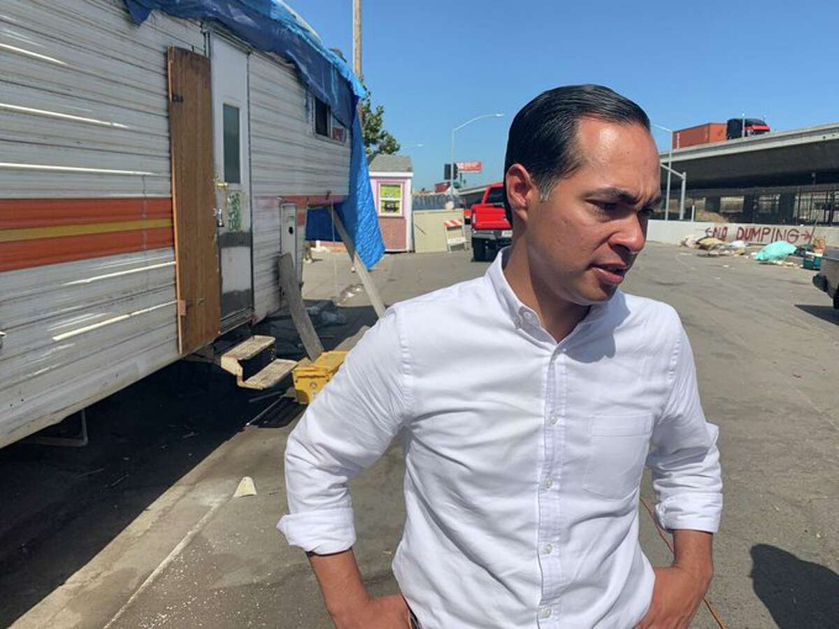 Democratic presidential candidate Julian Castro spoke about homelessness, immigration and police violence while taking a tour of Oakland's Fruitvale District on Wednesday. ONE TIME USE.
