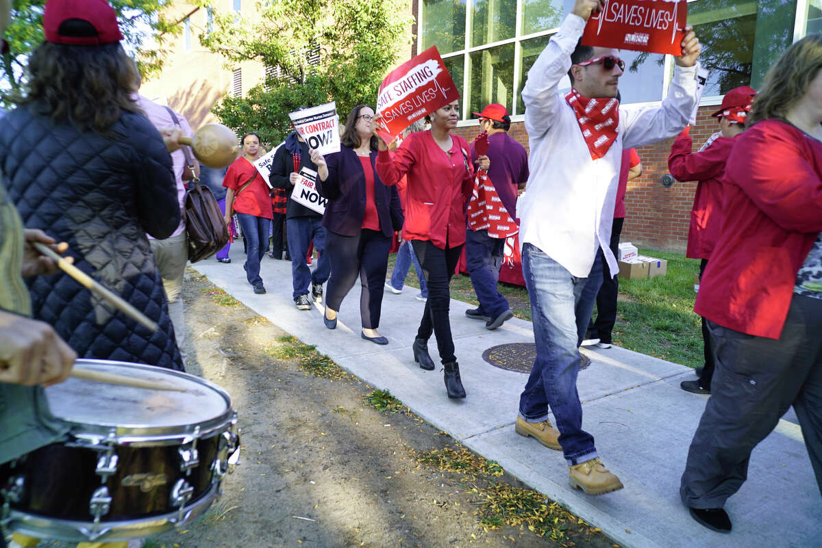 Albany Medical Center nurses take part in a picket outside the hospital on Wednesday, Sept. 25, 2019, in Albany, N.Y. (Paul Buckowski/Times Union)