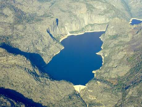 Hetch Hetchy Reservoir, viewed from airplane, collects water from the Grand Canyon of the Tuolumne in Yosemite National Park