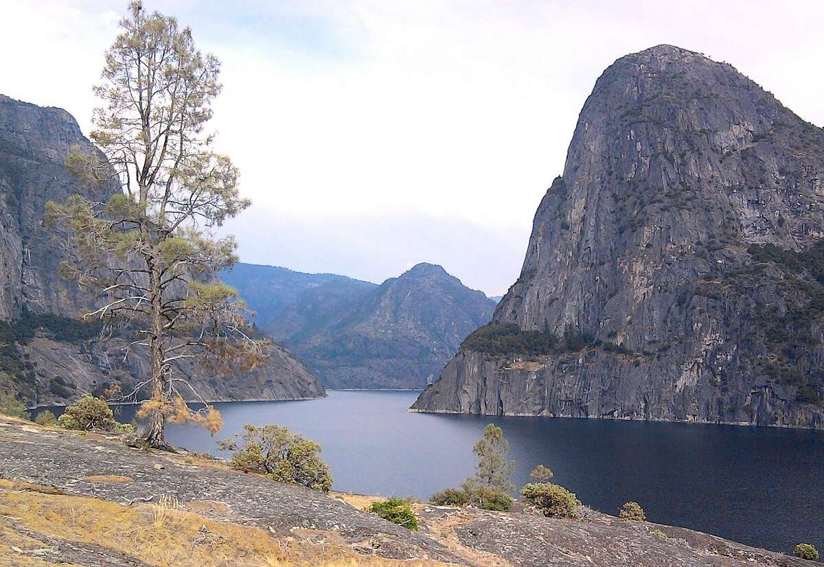 Hetch Hetchy Reservoir, viewed from trail to Wapama Falls, collects water from the Grand Canyon of the Tuolumne in Yosemite National Park