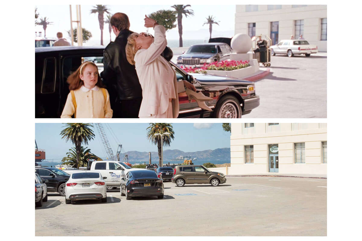 A split-screen of a scene featuring Lindsay Lohan and Meredith Blake shot from the inside looking out of the fictional San Francisco hotel in