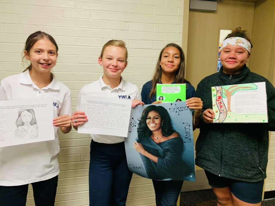 Twelve-year-old Lauren Ramos, Aspen Folmar, Demari Allen and Jalyssa Salazar, will meet former first lady Michelle Obama today at a leadership conference in Dallas. Photo: Young Women's Leadership Academy