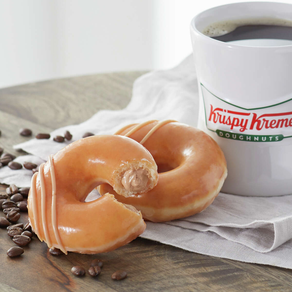 Krispy Kreme The American doughnut guru (with locations in south Seattle and north Seattle) is not only releasing its Original Filled Coffee Kreme Doughnut, but also pouring out a free brewed coffee and a free Original Glazed Doughnut, with absolutely no purchase necessary. Yes, we're all shedding a glazed tear of joy.