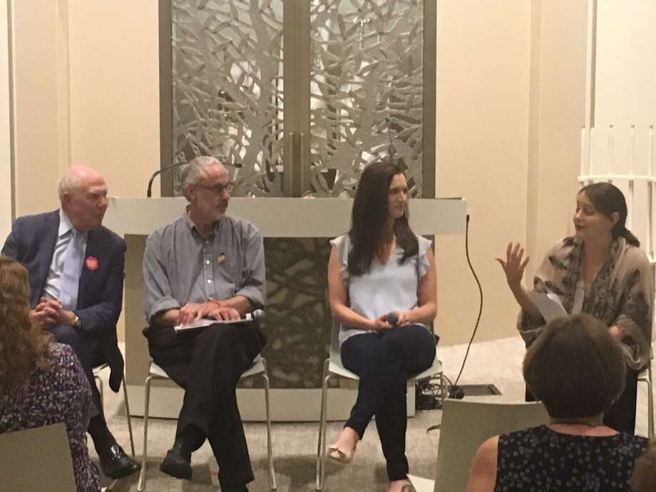 Selectman Sandy Litvack, Jonathan Perloe, Alexis Gevanter and Rabbi Jordie Gerson attend a panel discussion on gun violence at the Greenwich Reform Synagogue. Photo: / Robert Marchant / Hearst Media