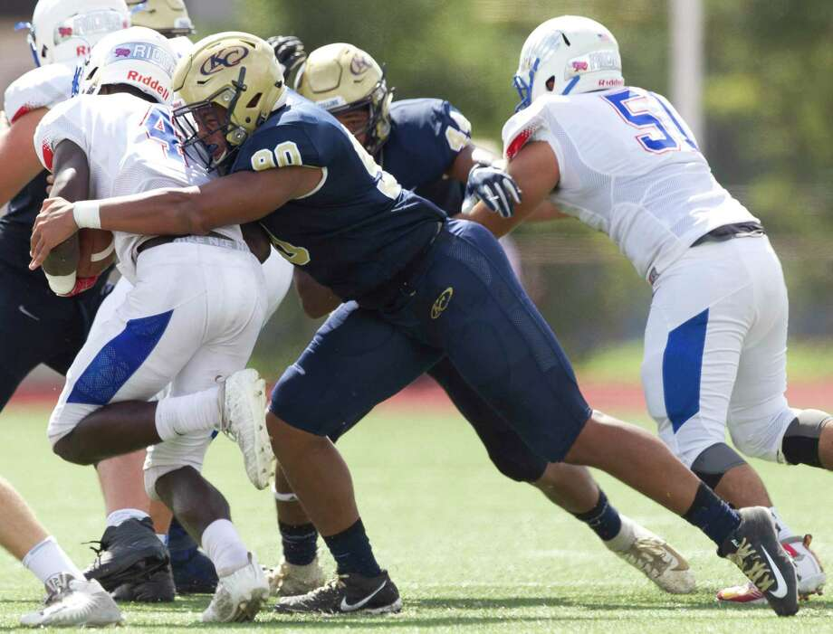 Klein Collins defensive linemen Cornelius Campbell (90) tackles Oak Ridge quarterback Kavon Townsend (3) during the first quarter of a District 15-6A high school football game at Klein Memorial Stadium, Saturday, Sept. 21, 2019, in Spring. Photo: Jason Fochtman, Houston Chronicle / Staff Photographer / Houston Chronicle