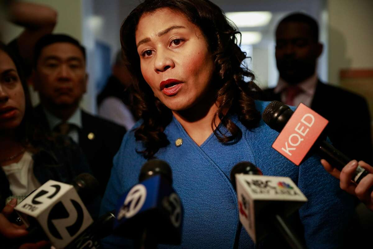 Mayor London Breed speaks to the media after a press conference regarding the city's annual report on HIV and AIDS at Zuckerberg San Francisco Hospital in San Francisco, California, on Tuesday, Sept. 10, 2019.