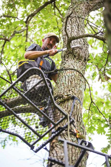Tree stand hunters may have to prune a few limbs to make room for a platform or open up shooting lanes. Always wear a full-body safety harness and keep it tethered to the tree when above ground.
