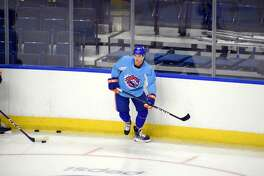 Dustin Jesseau works out with the Bridgeport Sound Tigers on Wednesday.