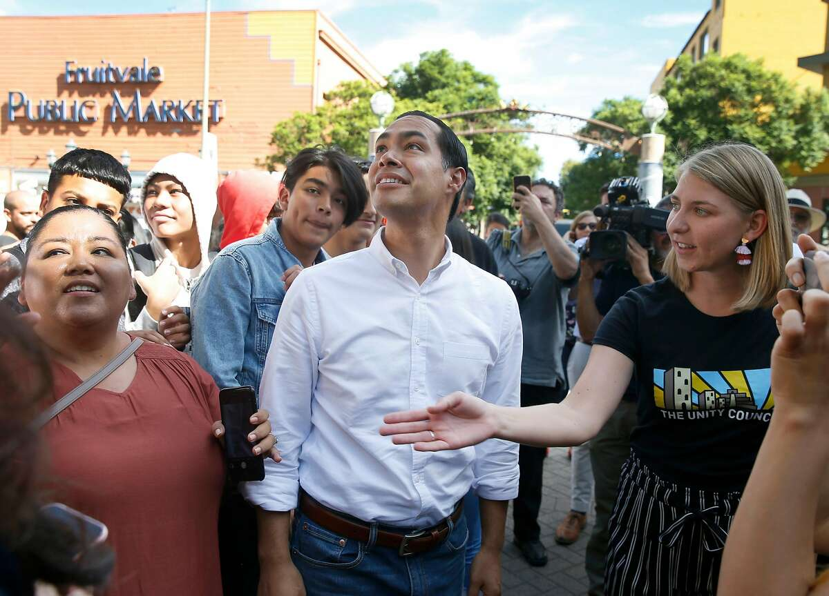 Former Secretary of Housing and Urban Development and Democratic presidential candidate Julian Castro visits the Fruitvale Transit Village in Oakland, Calif. on Wednesday, Sept. 25, 2019.