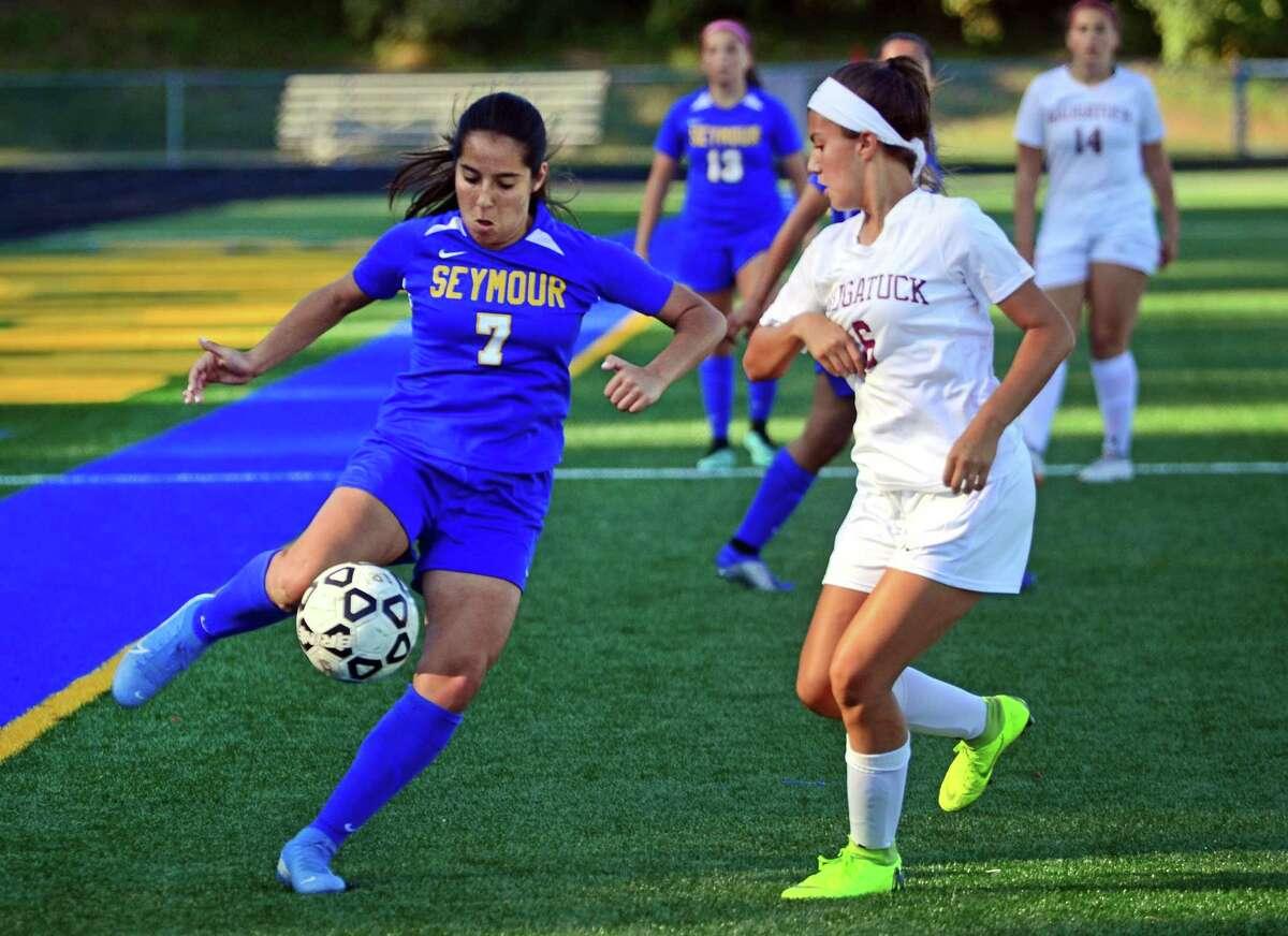Seymour's Suzana Imetovski (7) intercepts the ball as Naugatuck's Alannah Hernandez (6) converges during girls soccer action in Seymour, Conn., on Wednesday Sept. 25, 2019.