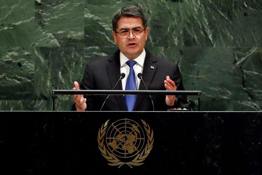 El presidente hondureño Juan Orlando Hernández Alvarado se dirige a la Asamblea General de las Naciones Unidas el miércoles 25 de septiembre de 2019 en la ONU. Photo: Richard Drew /Associated Press / Copyright 2019 The Associated Press. All rights reserved