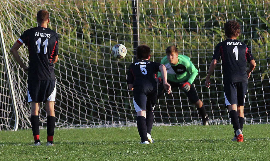 The USA Patriots boys soccer team beat the visiting EPBP Lakers 7-2 on Wednesday night. Photo: Mark Birdsall/Huron Daily Tribune