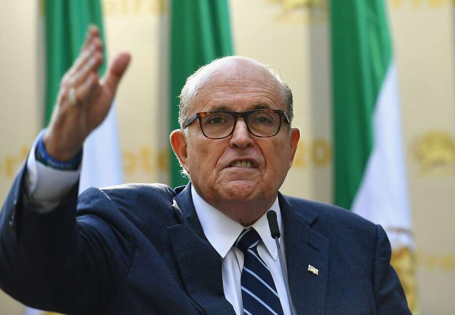 "Rudy Giuliani, former mayor of New York City, speaks to the Organization of Iranian American Communities during their march to urge ""recognition of the Iranian people's right for regime change,"" outside the United Nations Headquarters in New York on September 24, 2019.  Photo: Angela Weiss, AFP/Getty Images"