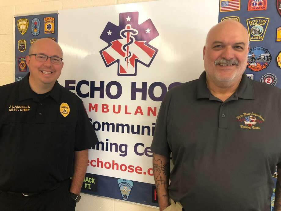 Echo Hose Ambulance Assistant Chief Joe Laucella, left, and Echo Hose Education and Paramedic Coordinator Patrick Lahaza at the training center, which will play host to a health fair Oct. 5. Photo: Brian Gioiele / Hearst Connecticut Media / Connecticut Post