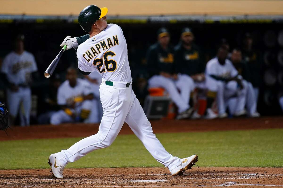OAKLAND, CALIFORNIA - SEPTEMBER 17: Matt Chapman #26 of the Oakland Athletics bats during the game against the Kansas City Royals at Ring Central Coliseum on September 17, 2019 in Oakland, California. ~~