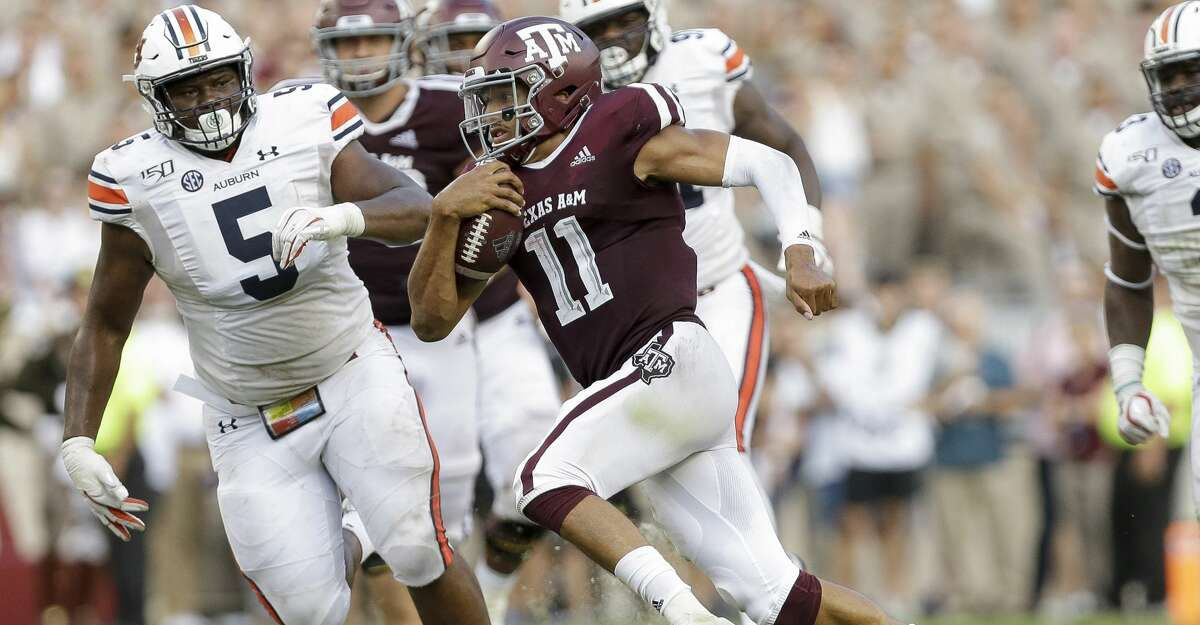 Texas A&M Aggies quarterback Kellen Mond (11) runs the ball against the Auburn Tigers during the fourth quarter of an SEC game at Kyle Field Saturday, Sept. 21, 2019, in College Station, TX. The Tigers won 28-20.
