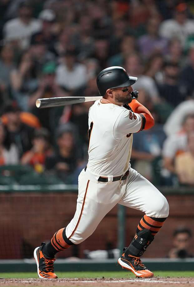 SAN FRANCISCO, CALIFORNIA - SEPTEMBER 25: Kevin Pillar #1 of the San Francisco Giants hits an rbi single scoring Mauricio Dubon #19 against the Colorado Rockies in the bottom of the third inning at Oracle Park on September 25, 2019 in San Francisco, California. (Photo by Thearon W. Henderson/Getty Images) Photo: Thearon W. Henderson / Getty Images